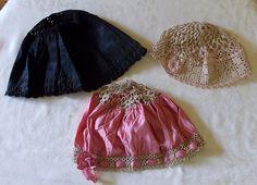 Antique vintage Edwardian sleep caps lot of 2 tatted and black plus flapper crochete cap
