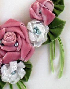velvet ribbon roses made into necklace bib