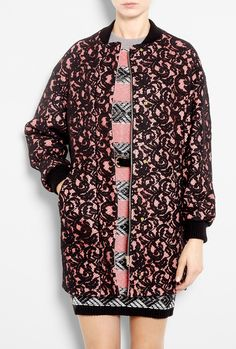 Black Lace Covered Pink Bomber Coat by MSGM