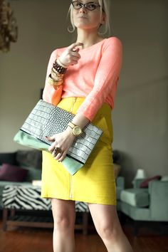 mint + coral + chartreuse + gray