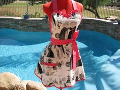 The Ghastlies Sassy Apron, Womens, Misses and Plus Sizes, Sweetheart Bib with Ruffles, Full, Handmande, A Family Reunion by Alexander Henry on Etsy, $29.95