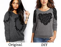 Get the look of this chic embroidered sweatshirt from Glamorous by DIYing it with machine embroidery and lace