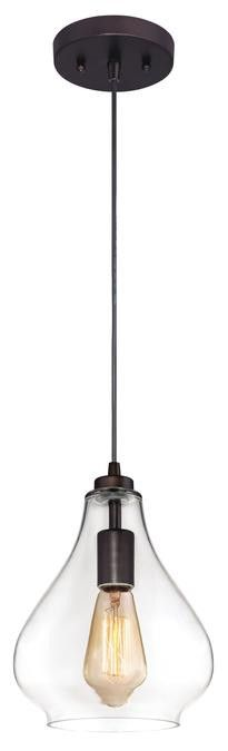 One-Light Adjustable Mini Pendant, Oil Rubbed Bronze Finish with Handblown Clear Glass