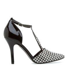 houndstooth t strap heels