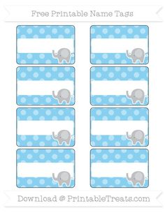 Free Baby Blue Dotted Pattern  Elephant Name Tags