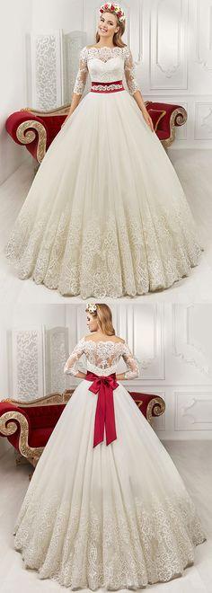 Lavish Tulle & Satin Bateau Neckline A-Line Wedding Dresses With Lace Appliques