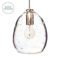 Beautifullysimple handblown seededglasspendant light. Choose from a variety of cordand finish options. Capturing the origins of delicate and elegant handblown glass, the Luce collection warms you with subtle tones and soft sphere shapes. A simple, classic profilewith updated finishes fora modern home. Design your pendanttoday. Made in the USA. Custom. Exclusive. Quality.  SEE IMAGES & DETAILS TAB FOR OPTIONS     Details  Wiring Options:   Hardwire: 8' of cord with canopy kit....
