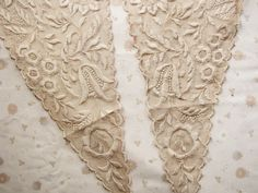 antique lace panels - Edwardian triangle inserts - Whitework lace - 18th century style via faginsdaughter