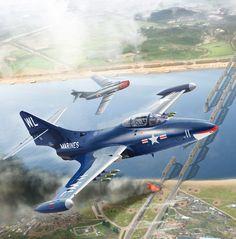 Panther vs a Grumman Aircraft, Navy Aircraft, Military Jets, Military Aircraft, Fighter Aircraft, Fighter Jets, War Jet, War Thunder, Aircraft Painting