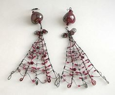 Multicolored wire wrapped earrings Seet beads by CrazyDreams888