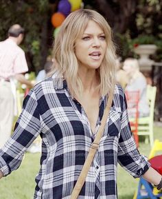 Mickey's white and navy plaid shirt on The Mick. Outfit Details: https://wornontv.net/64363/ #TheMick