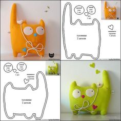 DIY Plush Fleece or Felt Cat. The site is in Russian here, but the diagram is pr… DIY Plush Fleece or Felt Cat. The site is in Russian here, but the diagram is pretty self explanatory. Sewing Toys, Sewing Crafts, Sewing Projects, Fabric Toys, Fabric Crafts, Softies, Felt Cat, Cat Crafts, Felt Toys