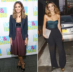 Day and Night Fashion: Jessica Alba Shows Us Two Ways to Wear a Bustier Top | InStyle Magazine