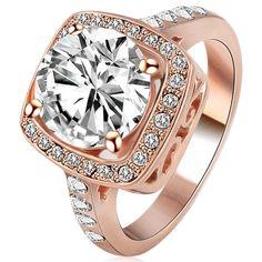 Cocktail Ring -Carlotta Cara - White Crystal Platinum / Rose Gold  - LA MIA CARA JEWELRY