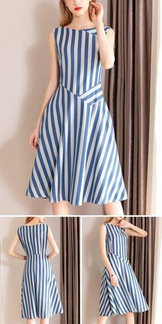 Casual O-Neck Gathered Waist Pinafore Patchwork Skater Dress fashion dresses casual Simple Dresses, Elegant Dresses, Women's Dresses, Casual Dresses, Fashion Dresses, Dresses For Work, Summer Dresses, Formal Dresses, Wedding Dresses