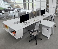 L shaped Desking White Desk Office, Office Setup, Cool Office, Office Workspace, Office Decor, System Furniture, Office Furniture, Furniture Design, Corporate Office Design