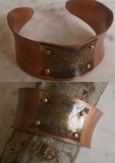 De cobre con adorno latón oscurecido. Cuff Bracelets, Belt, Accessories, Jewelry, Fashion, Copper, Ornaments, Bangle Bracelets, Belts