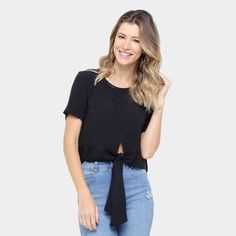 b7607c0ded Blusa Colcci Cropped Amarração Feminina - Preto - Compre Agora