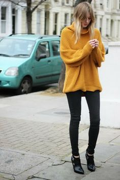 Yellow sweater with tight pant and shoes