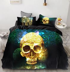 Duvet Sets, Duvet Cover Sets, Gothic House, Skull Print, Bed Spreads, Bedroom Decor, Bedroom Ideas, Queen, Blanket