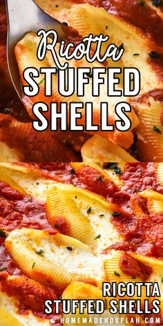 These easy and simple ricotta stuffed shells are filled with savory ricotta and mozzarella then baked on a bed of flavorful marinara (storebought or homemade! Easy Stuffed Shells, Cheese Stuffed Shells, Stuffed Shells With Ricotta, Stuffed Lasagna Shells, Barilla Stuffed Shells Recipe, Recipe For Stuffed Shells, Ground Beef Stuffed Shells, Healthy Stuffed Shells, Italian Stuffed Shells