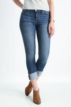 Joe's Jeans Kelsie Cuff Cropped Jeans in MEDIUM DENIM
