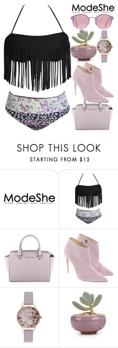 """Miami Purple - Modeshe 32"" by egordon2 ❤ liked on Polyvore featuring MICHAEL Michael Kors, Ralph Lauren, Olivia Burton and RetroSuperFuture"