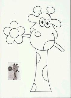 Safari Animals - Giraffe Quilt Pattern - Coloring Page Applique Templates, Applique Patterns, Applique Quilts, Applique Designs, Embroidery Applique, Quilt Patterns, Machine Embroidery, Owl Templates, Coloring Books