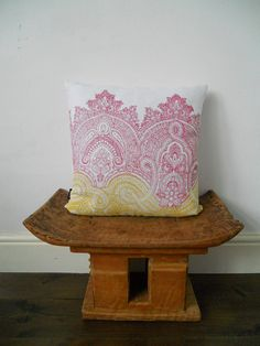 Hand printed decorative Linen throw pillow cushion by papatotoro, $55.00