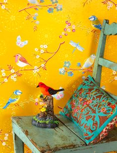 That is the sweetest wallpaper I've ever seen.  Love the turquoise and red accents.