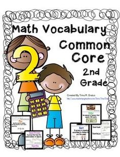 Math Vocabulary Pack features: A printable word wall color coded by domain and visuals to help early readers. Printable Domain labels for your word wall. Math flip books that help students review key vocabulary Printable flashcards with all of the word wall words that can be used to study words, as a resource for parents, and or to create personalized word walls. Math toolkit labels #mathvocabulary #mathwordwall #mathcommoncore