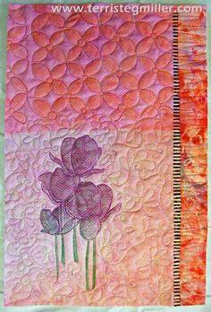 chiffon overlaying stencilling - Terri Stegmiller Art Quilts -