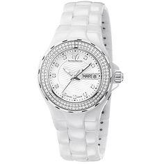 TECHNOMARINE CRUISE WHITE DIAL DIAMOND BEZEL WHITE CERAMIC LADIES WATCH 111053