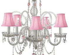Light up a room in elegance with this Gallery Crystal Swag Chandelier. Crystal accents reflect the light from the 5 candle bulbs, each framed by romantic pink shades for a touch of opulence that will brighten up your living space. Pink Chandelier, Outdoor Chandelier, Chandelier Lighting, Chandelier Bedroom, Pendant Lights, Crystal Wall, Crystal Chandeliers, Compact Fluorescent Bulbs, Candelabra Bulbs
