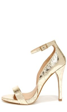 Kick Up Your Heels Gold Ankle Strap Heels