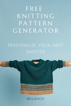 Personalize your next sweater with the free knitting pattern generator by Bellish. How To Start Knitting, Easy Knitting, Knitting Stitches, Knitting Socks, Knitting Patterns Free, Knit Patterns, Sewing Patterns, Diy Couture, Knitting Projects