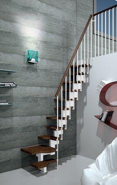 Gamia Mini Space Saving Stair Kit (Loft Stair) With White Metalwork U0026 Solid  Beech Treads U0026 Handrail (Dark Walnut Shade)   Prices Start From (Inc VAT U0026  UK ...