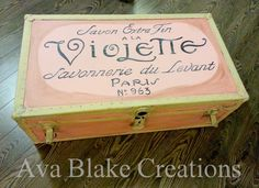 French Graphics Painted On A Trunk ... plus a reupholstered settee, veneer shelving unit, tables