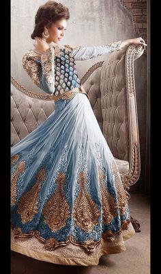 Cadet Blue Net Embroidered Anarkali Churidar Suit