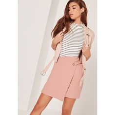 Missguided Eyelet Aysmmetric Wrap Skirt featuring polyvore, women's fashion, clothing, skirts, pink, missguided skirt, pink skirt, eyelet skirt, pink wrap skirt and wrap skirts