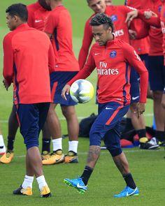 Neymar Jr. attends a training session with Paris Saint Germain (PSG) in Saint Germain en Laye, France 110817