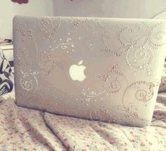 Apple laptop cute swirls diamonds