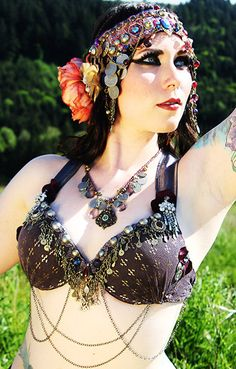 Art Nouveau Headdress Floral Tribal Fusion by theverdantmuse, $250.00