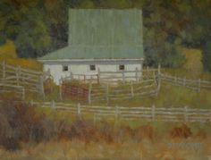 """Bath County Barn"" Beth Marchant 11"" x 14"" Oil #art #artwork #paint #artist #painting #fineart #oil #oilpainting #braziergallery #bethmarchant #bathcounty #virginia #country #rural #farm"