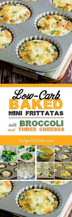 Low-Carb Baked Mini Frittatas with Broccoli and Three Cheeses are a wow in the flavor department, and these tasty mini-frittatas are also Keto, low-glycemic, gluten-free, meatless, and South Beach Diet friendly!  Use large muffin cups or individual tart pans if you don't have the tart pan I used. [found on KalynsKitchen.com] #MiniFrittata #Breakfast #BroccoliCheeseFrittata #LowCarb #Keto #LowGlycemic #GlutenFree #Meatless