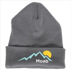 Moab, Utah Mountain Sunset - Embroidered Knit Beanie