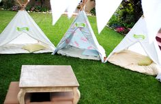 How to make this teepee, very inexpensive and in about 30 minutes. Super cool using a King or queen size sheet, 6' wooden or bamboo garden stakes, some rope, safety pins, and glue gun.