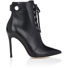 Gianvito Rossi Women's Lace-Up Ankle Boots ($1,295) ❤ liked on Polyvore featuring shoes, boots, ankle booties, ankle boots, black, lace up ankle boots, high heel ankle boots, black laced booties and black pointed toe booties