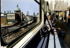 Richard ESTES(American b. 1932), M Train on Route to Manhattan Approaches the Williamsburg Bridge
