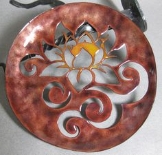 Handmade Enameled Copper Plate - Lotus. $75.00, via Etsy.